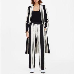 Zara Woman Striped Pants Black Tan
